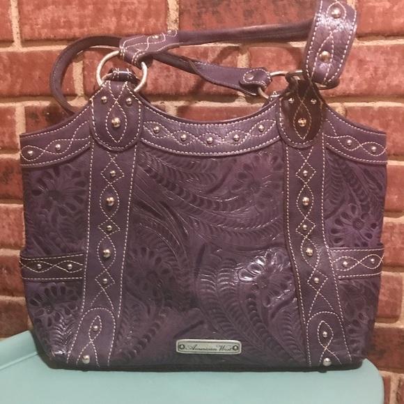 be8d25445b8 American West tooled leather shoulder bag